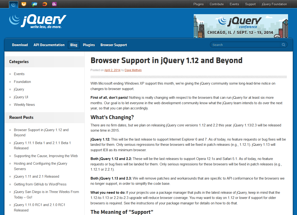 Browser Support in jQuery 1.12 and Beyond : Official jQuery Blog