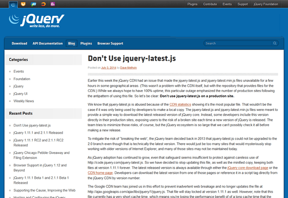Don't Use jquery-latest.js : Official jQuery Blog