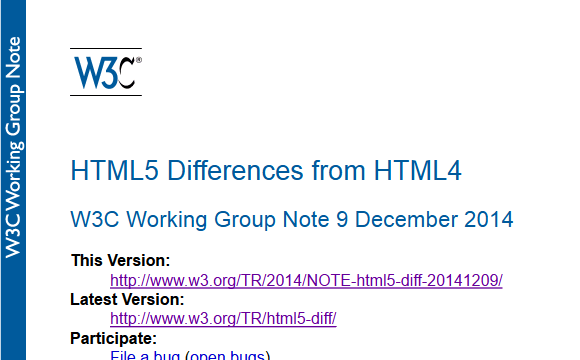 HTML5 Differences from HTML4 - W3C Working Group Note 9 December 2014