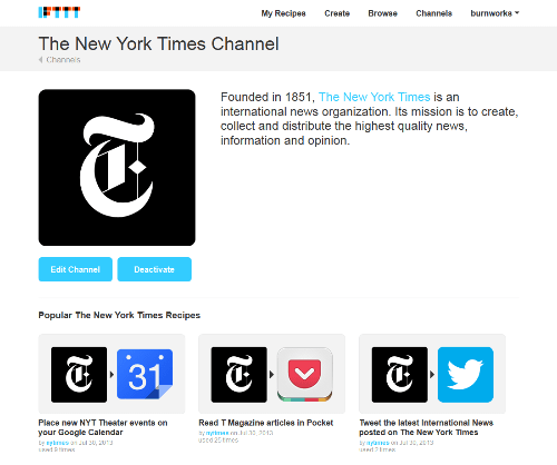 The New York Times Channel - IFTTT