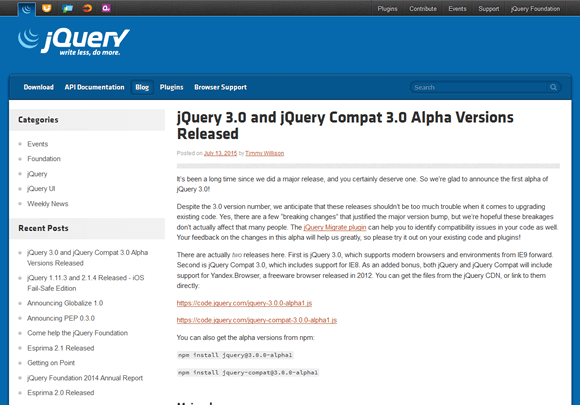 jQuery 3.0 and jQuery Compat 3.0 Alpha Versions Released