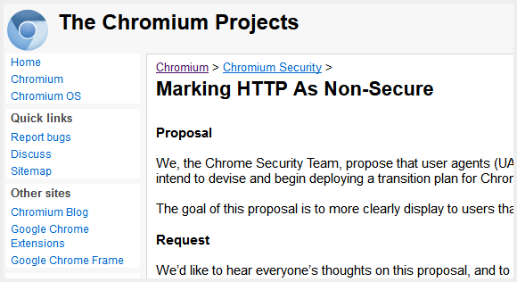 Marking HTTP As Non-Secure : The Chromium Projects