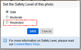 Flickr - 「Safety Level」 の設定