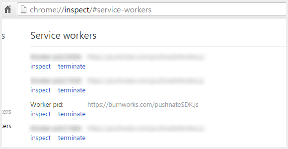 chrome://inspect/#service-workers で表示した Service Worker の一覧