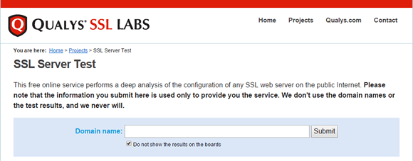 SSL Server Test (Powered by Qualys SSL Labs) の画面