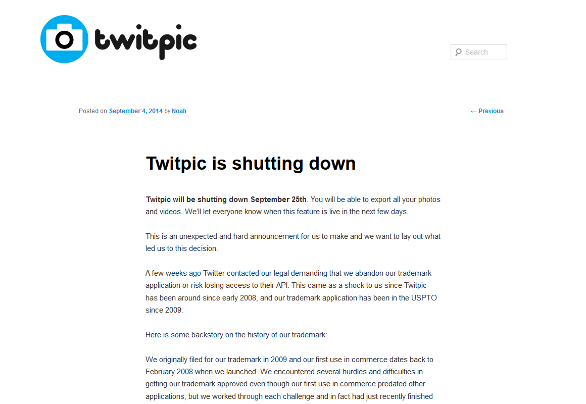 Twitpic is shutting down : Twitpic Blog